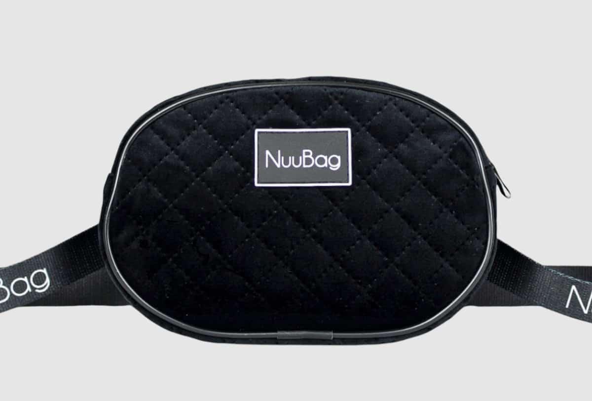 Welurowa czarna nerka. Polska marka torebek NuuBag. Handmade