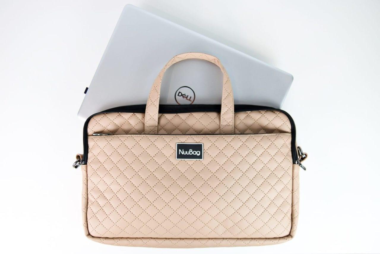 Beżowa damska torba na laptopa- laptop