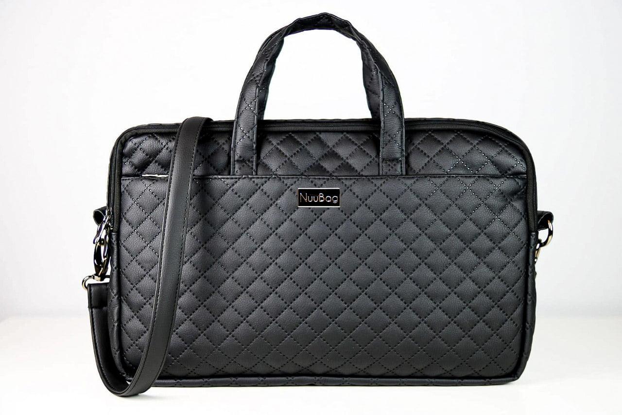 Damska torba na laptopa. Czarna, pikowana.