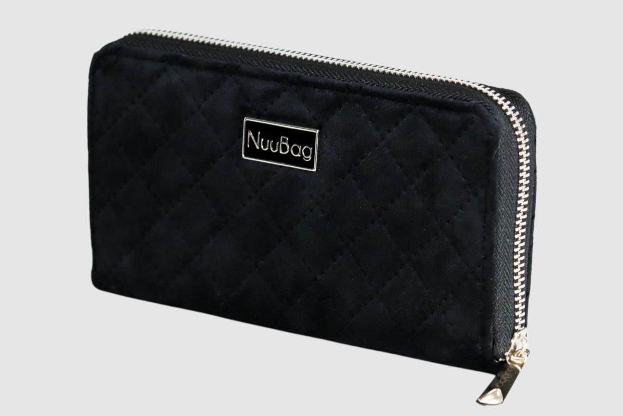 Czarny portfel damski welur, zamsz.