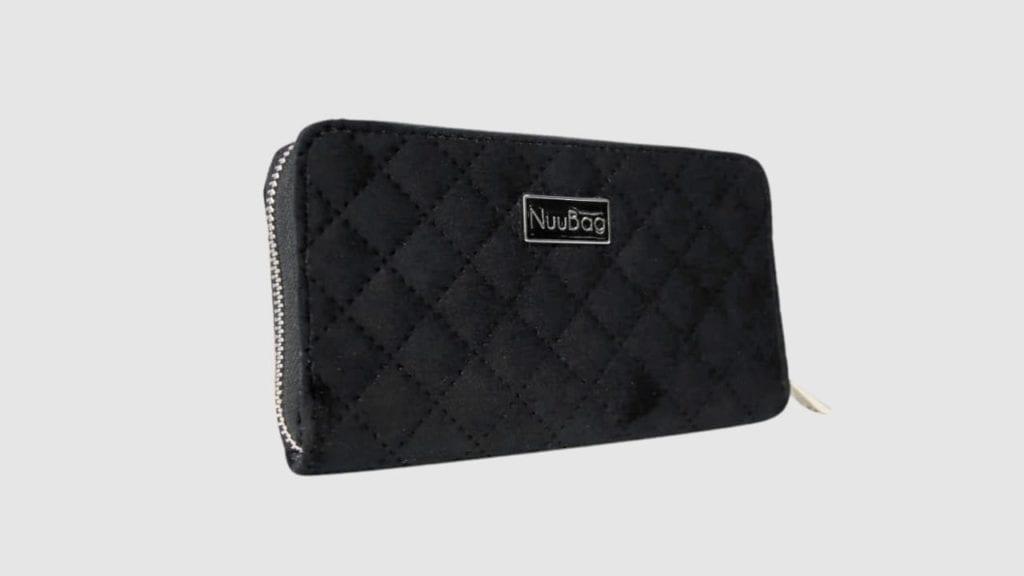 portfel damski czarny welur