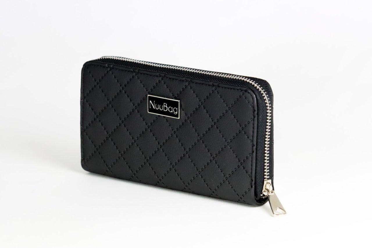 Pikowany portfel damski czarny.