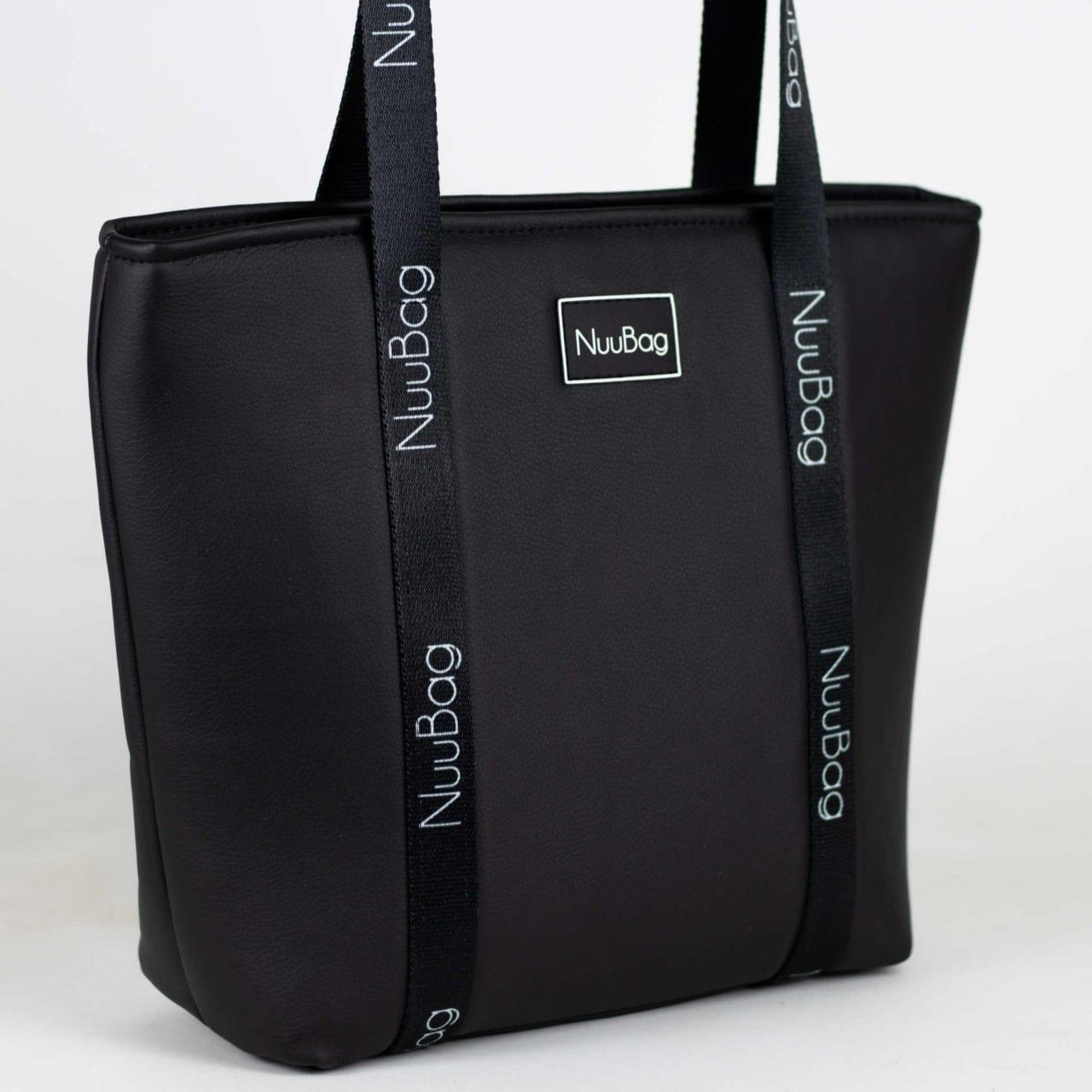 Czarna skorzana torba na zakupy - shopperka